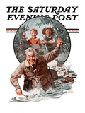 """Fisherman and Boys "" Saturday Evening Post Cover  September 6  1924"