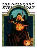 """Witch Carving Pumpkin "" Saturday Evening Post Cover  October 27  1928"