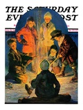 """Skaters' Bonfire "" Saturday Evening Post Cover  February 21  1931"