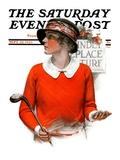 """Kindly Replace Turf "" Saturday Evening Post Cover  September 22  1923"
