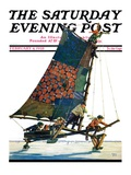 """Iceboat "" Saturday Evening Post Cover  February 4  1928"