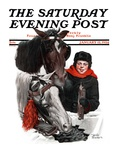 """Boy Watering Horses "" Saturday Evening Post Cover  January 12  1924"