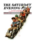 """Tobogganing "" Saturday Evening Post Cover  January 7  1928"