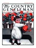 """Toddler Watering Geraniums "" Country Gentleman Cover  June 28  1924"