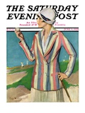 """Woman in Sandtrap "" Saturday Evening Post Cover  June 9  1928"