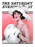 """Ermine Muff "" Saturday Evening Post Cover  January 6  1923"