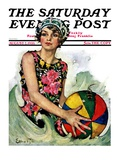 """Bathing Beauty and Beach Ball "" Saturday Evening Post Cover  August 7  1926"
