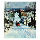 """Sleigh on Snowy Village Street ""February 1  1931"