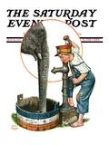 """Watering the Elephant "" Saturday Evening Post Cover  July 16  1927"