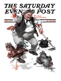 """Shoo Chickens ! "" Saturday Evening Post Cover  June 2  1923"