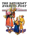 """Arab Vendor and Children "" Saturday Evening Post Cover  September 21  1929"