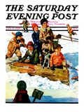 """Homemade Sleigh "" Saturday Evening Post Cover  January 19  1929"