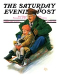 """Sledding with Grandpa "" Saturday Evening Post Cover  February 8  1930"