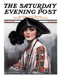 """Woman in Embroidered Blouse "" Saturday Evening Post Cover  May 5  1923"