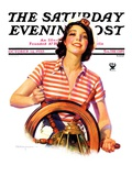 """Woman Takes the Wheel "" Saturday Evening Post Cover  October 14  1933"