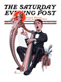 """Offkey Harpist "" Saturday Evening Post Cover  April 4  1925"