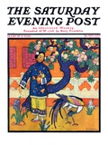 """Japanese Woman in Garden "" Saturday Evening Post Cover  March 2  1929"