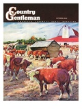 """Cattle in Barnyard "" Country Gentleman Cover  October 1  1945"
