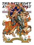 """Knight in Shining Armor "" Saturday Evening Post Cover  July 17  1926"