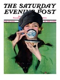 """Elegant Lady Drinking Cup of Tea "" Saturday Evening Post Cover  February 20  1926"