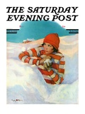 """Snowball Fight "" Saturday Evening Post Cover  February 18  1928"