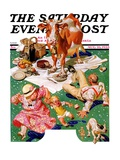 """Cow Joins the Picnic "" Saturday Evening Post Cover  August 26  1933"