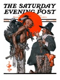 """Trading for a Turkey "" Saturday Evening Post Cover  December 1  1923"