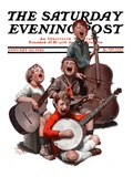 """String Quartet "" Saturday Evening Post Cover  January 20  1923"