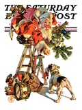 """Santa Up a Ladder "" Saturday Evening Post Cover  December 20  1930"