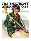 """Girl Hockey Player "" Saturday Evening Post Cover  January 22  1927"