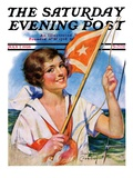 """Woman with Signal Flag "" Saturday Evening Post Cover  July 7  1928"