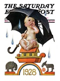 """Raining on Baby New Year "" Saturday Evening Post Cover  December 31  1927"