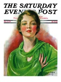 """Woman in Green "" Saturday Evening Post Cover  March 23  1929"