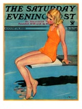 """Sitting on the Diving Board "" Saturday Evening Post Cover  August 19  1933"