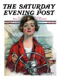 """Woman Sailor "" Saturday Evening Post Cover  October 15  1927"