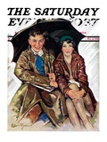 """Couple in Rain "" Saturday Evening Post Cover  October 4  1930"