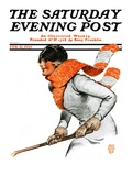 """Women's Ice Hockey "" Saturday Evening Post Cover  February 21  1925"