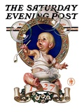 """Blowing Bubbles "" Saturday Evening Post Cover  January 1  1927"