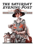 """Teatime "" Saturday Evening Post Cover  July 7  1923"