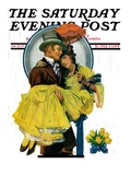 """April Shower "" Saturday Evening Post Cover  April 23  1927"