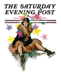 """A Fall from Skates "" Saturday Evening Post Cover  January 11  1930"