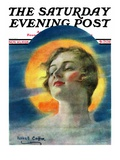 """Misty Harvest Moon "" Saturday Evening Post Cover  November 10  1928"