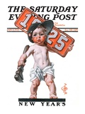 """Industrial New Years Baby with License Plate "" Saturday Evening Post Cover  January 3  1925"