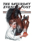"""Boy Feedy Apple to Horses "" Saturday Evening Post Cover  July 14  1923"