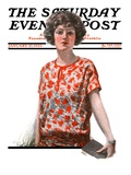 """Woman in Floral Print "" Saturday Evening Post Cover  January 27  1923"