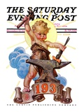 """Forging a New Year "" Saturday Evening Post Cover  December 27  1930"