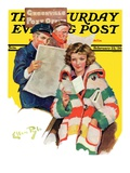 """Reading Her Mail "" Saturday Evening Post Cover  February 22  1936"