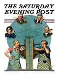 """Party Line "" Saturday Evening Post Cover  March 17  1928"