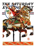 """""""Carousel Ride """" Saturday Evening Post Cover  September 6  1930"""