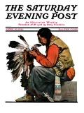 """Indian Headdress "" Saturday Evening Post Cover  April 10  1926"